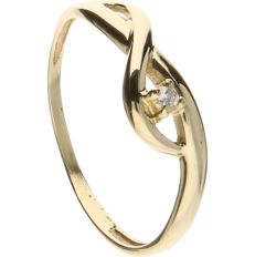 14 k Yellow gold ring set with a brilliant cut diamond of approx. 0.01 ct. - Inside diameter 16.50 mm