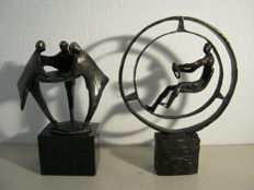 Bernadette Leijdekkers - lot of two signed bronze sculptures of which one was commisioned