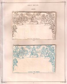 Great Britain - Mulready 1d letter sheet and 2d envelope.