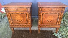 Maggiolini style nightstands, precious woods, hand made inlays by cabinetmakers in Milan, Italy, late 20th century