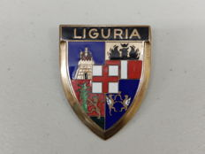 Italy Badge - Vintage Brass and Enamel Liguria Italian Car Badge by Drago Auto Emblem  - 65 x 50 mm