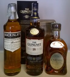 3 bottles - The Glenivet 18 y.o. & Cardhu 'Gold Reserve' & Mackinlay's Original 5 y.o. blended