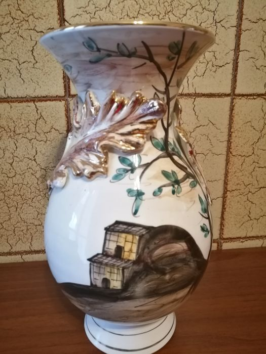 White Ceramic Vase With Ornaments In Relief Faci Italy Catawiki