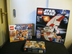 Star Wars - 7931 +-9491 + 7913 - T-6 Jedi Shuttle + Geonosian Cannon + Clone Trooper + Battle Pack