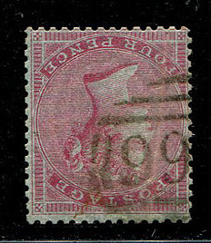 Great Britain 1855/1857 - Queen Victoria - 4 pence carmine, Watermark small garter inverted, Stanley Gibbons 62.