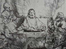 Armand Durand after Rembrandt Van Rijn -Chris at Emmaus - ca 1880