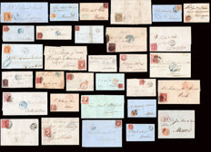 Spain 1852–1864 - Isabel II.  Lot with 32 pieces of postal history of Barcelona.