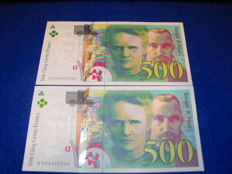 France - 2 x 500 francs 1995 - running numbers