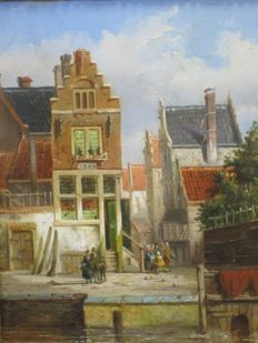 Hollandse school (19th century) - Summer city view with people