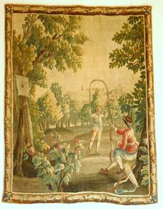 Tapestry of Aubusson multicolour, wool and silk - Jeux dans le parc - time Louis XVI - France - 18th century