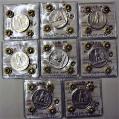 Kingdom of Italy - 5 Lire 'Aquilino' (eagle) 1926-1930, complete series of 8 coins - silver