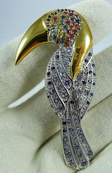 Large Bird set with natural Sapphires, Tanzanites & Ruby - Brooch ***No reserve price***