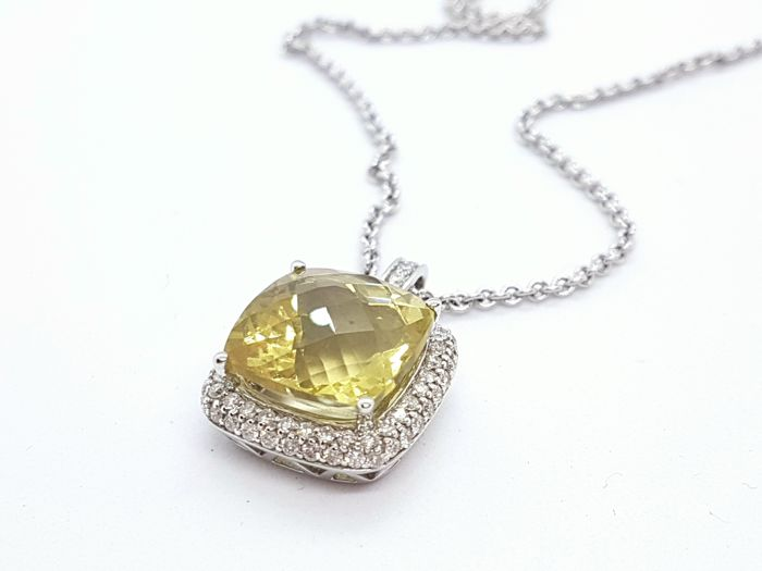 Necklace - White gold - 9.01 ct - Pasiolite and Diamond