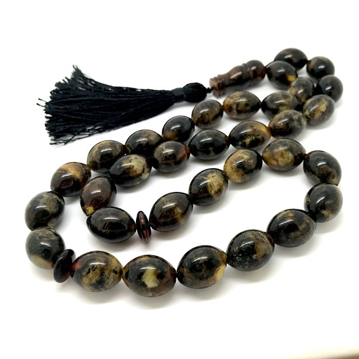 Islamic tesbih prayer beads of 33x Baltic amber beads olive 17x12 mm - 50.2 grams