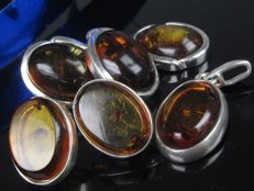 2 x amber earrings and pendant silver set