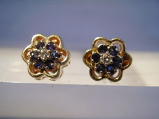 14 kt gold earrings with 0.10 ct diamonds and 0.50 ct blue sapphires, NO RESERVE