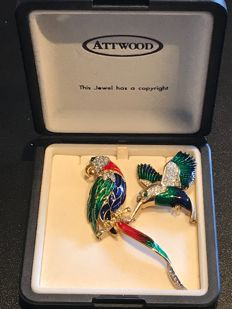 boxed vintage 2 Atwood and sawyer rare bird brooches