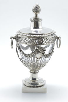Exceptional bowl for sweets or jam with silver bust of Napoleon -  Empire era (1798-1809) - Exported to Belgium