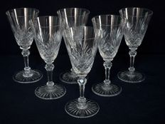 6 water glasses in Baccarat Crystal, model with conical palmettes - 17.8 cm France, prior to 1936