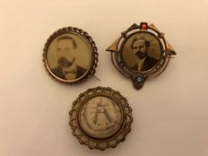 Antique portrait brooches Germany 1890