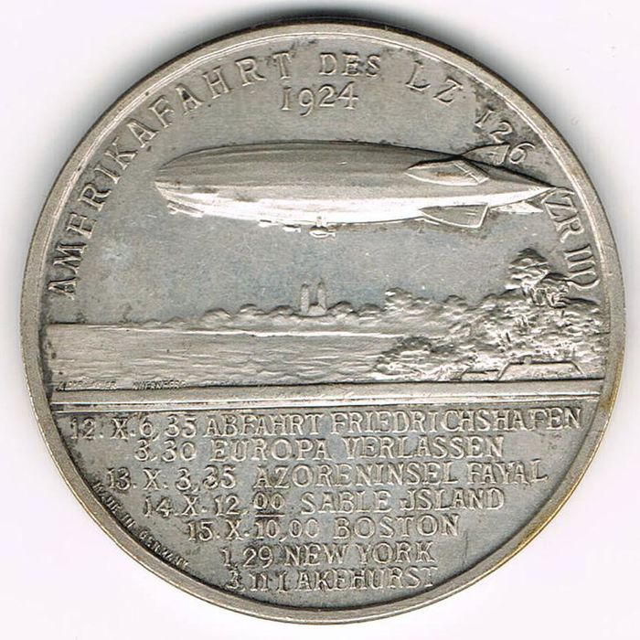 Weimar Republic - Medal 1924 to the American Flight of the Zeppelin - LZ 126 (ZR III)/ Dr. Hugo Eckener