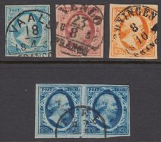 Netherlands 1852 - King Willem III First emission - NVPH 1/3 with semi-circular cancellations + pair NVPH 1