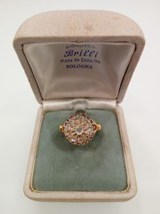 18 kt yellow gold ring with rosette cut diamonds 0.50 ct