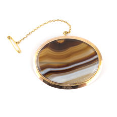 Antique Victorian Banded Agate Brooch - Gold  mounted