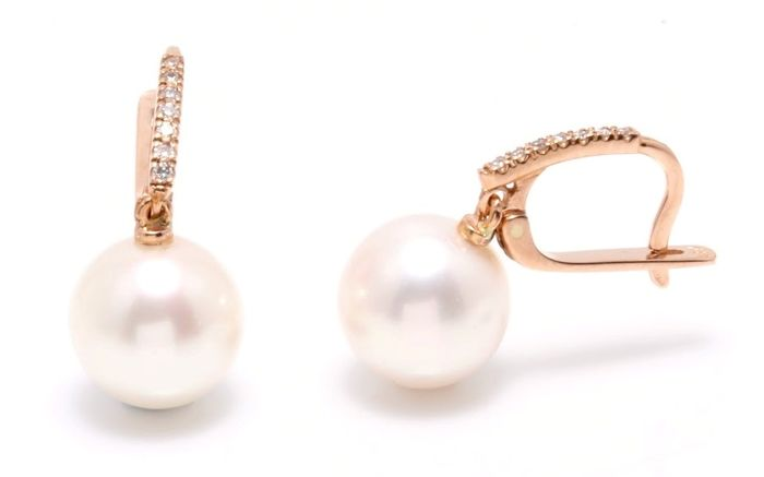 18K Rose Gold Earrings Featuring 0.11Ct SI G Diamonds and Lustrous Freshwater Pearls - Authenticity Certificate Included