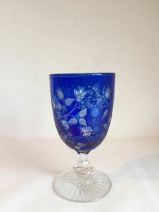 Bohemian cobalt blue cut to clear wine goblet