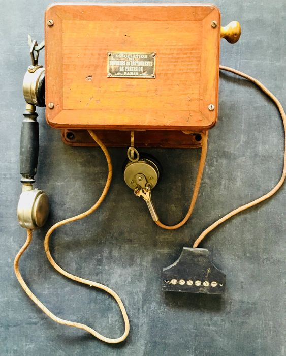 Telephone made of wood and bakelite, France, early 20th century