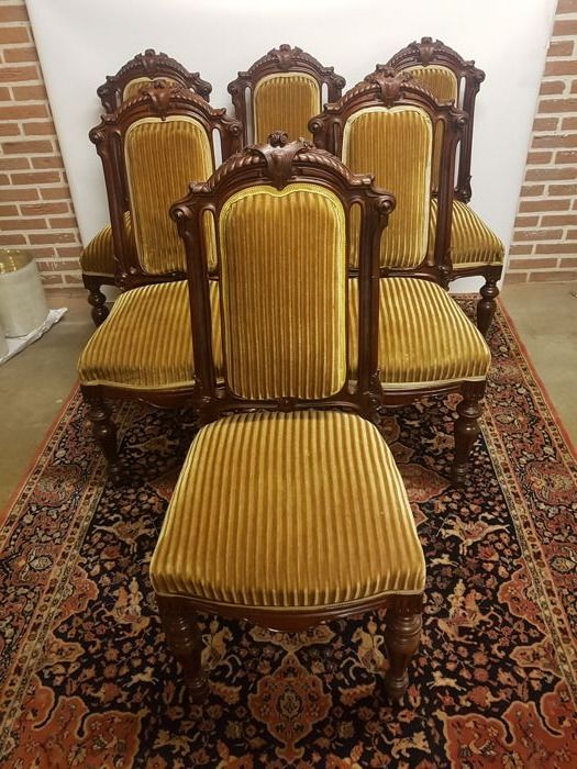 A set of 6 Willem III mahogany dining room chairs -the Netherlands - ca.  1860 - Catawiki