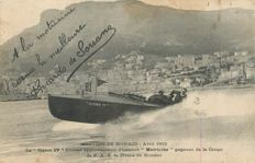 "Monaco - Meeting of boat races in 1913 - Old postcard - Bateau le Sigma IV Cruiser approvisionné d'essence "" Motricine """