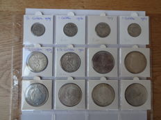 The Netherlands - ½ guilder through 10 guilder 1929/1973, lot of 12 coins - silver