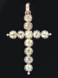 Antique red gold cross pendant with strass stones encrusted in silver top - anno 1790