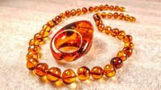Set of Natural Baltic Amber ring and necklace, 47 grams