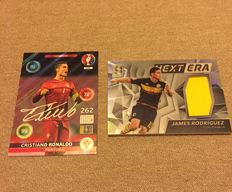 Panini - Cristiano Ronaldo and James Rodriguez - 1 adrenalyn Signature card + 1 match warn Jersey card.