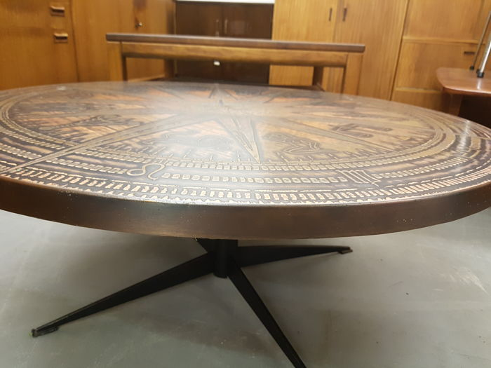 Italian modern coffee table, Zodiac copper top, Italy, 20th century