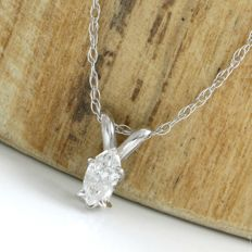 14kt White Gold 0.20 ct Marquise Cut Diamond, E, I1 Pendant Necklace - 45 cm