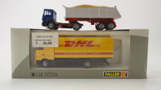 "Faller H0 - Lorry MB Actros ""DHL"" and MAN tipper-truck with sand"