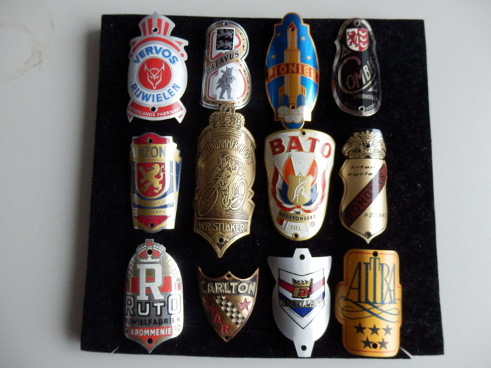 Collection of 12 Nice Bicycle Head Badges, Balhoofdplaatjes. with some Rare oa - Muntendammer Kroon en Bato en andere