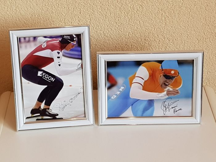 Rintje Ritsma and Gianni Romme - Olympic ice skating legends - 2 hand-autographed framed photos + COA.
