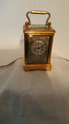 Miniature carriage clock with porcelain Sevres style plaques - late 20th century