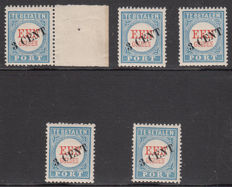The Netherlands 1910 - Postage due stamp, overprint in black - NVPH P27 (5 x)