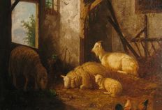 Laurens Plas (1828-1893 ) - Stable with sheep
