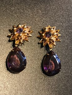 very rare massive gem set vintage Askew London designer earrings