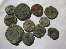 Spain - AE - Large lot of 11 medieval coins - different kindgoms