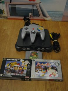 Nintendo 64 including 3 games (2 boxed) - Bomberman 64+ Snowboard kids and Mario 64