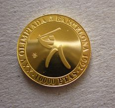 Spain - Gold - Barcelona Olympic Games - 10, 000 gold pesetas - Year 1992 base ball - 999/1000