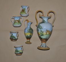 Set of 6 Hand-Painted Ceramics of Castelli - 4 Mugs, 1 Amphora, 1 Pitcher